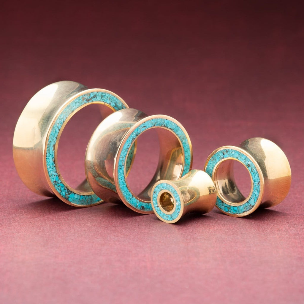 Brass Tunnels with Turquoise Inlay