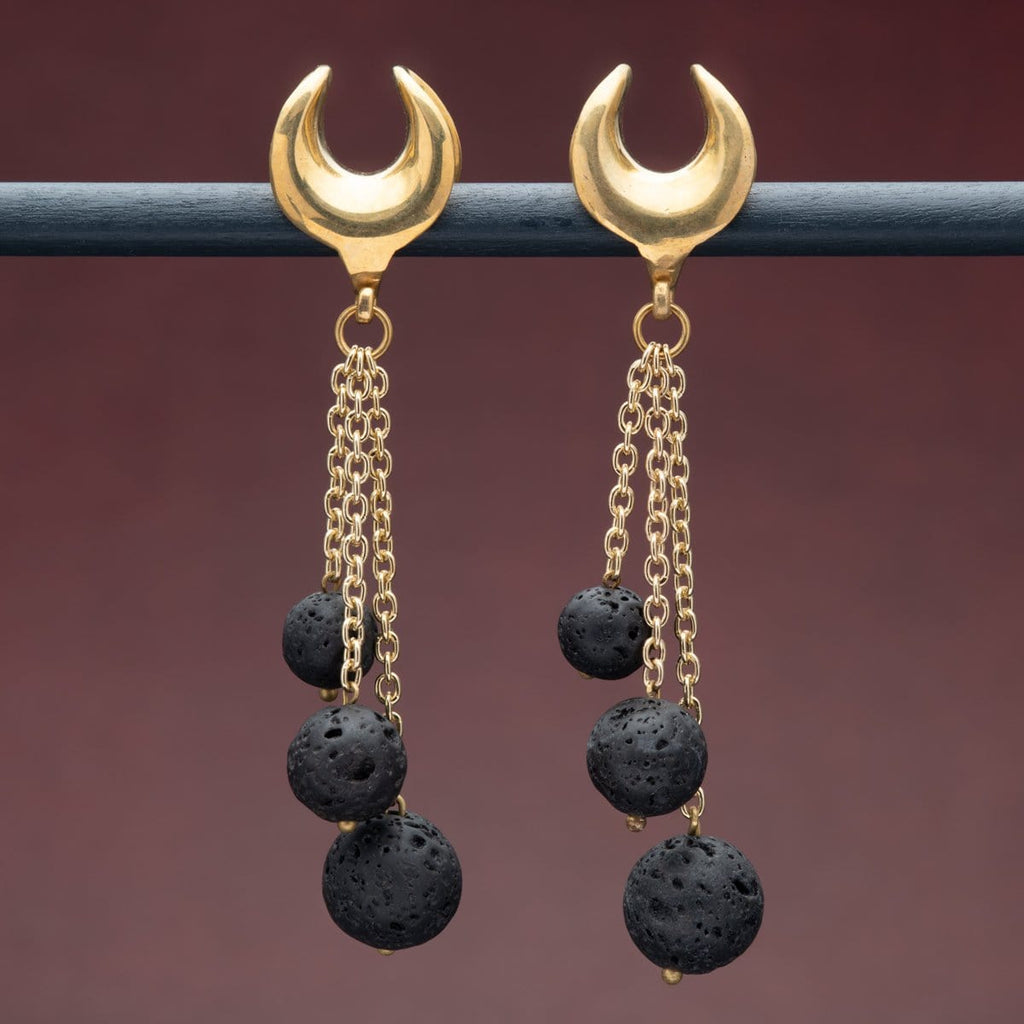 Open Top Brass Hangers with Lava Stone
