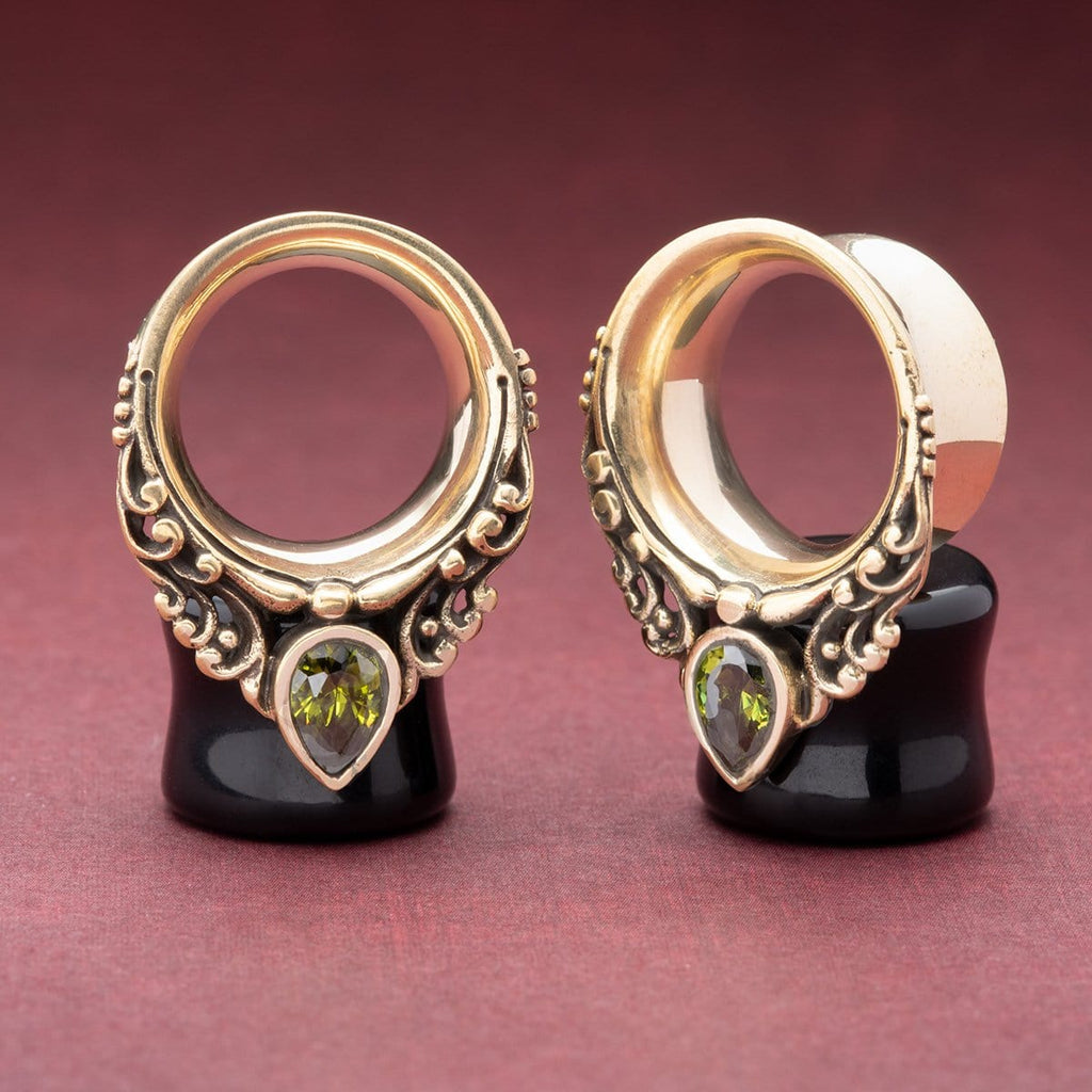 Brass Tunnels with Peridot