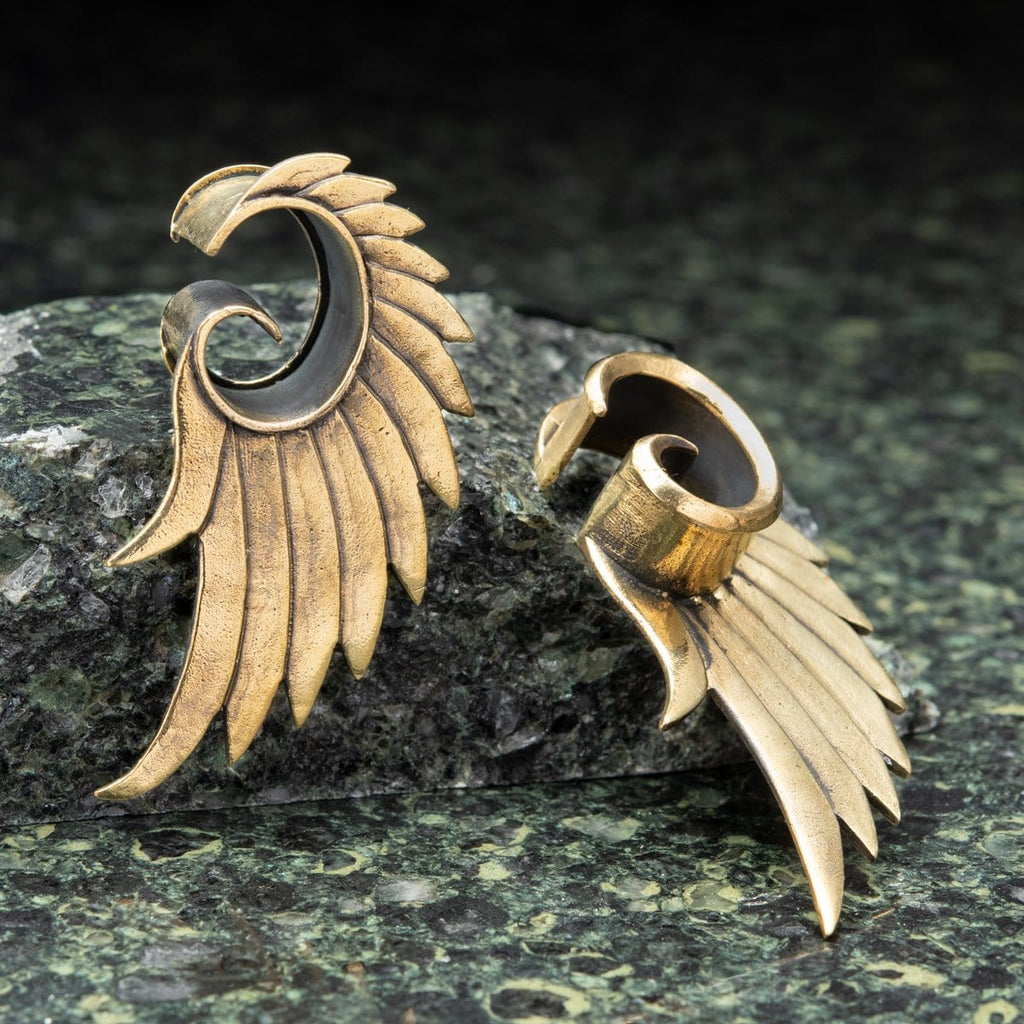 Brass Open Plugs with Feather Wings