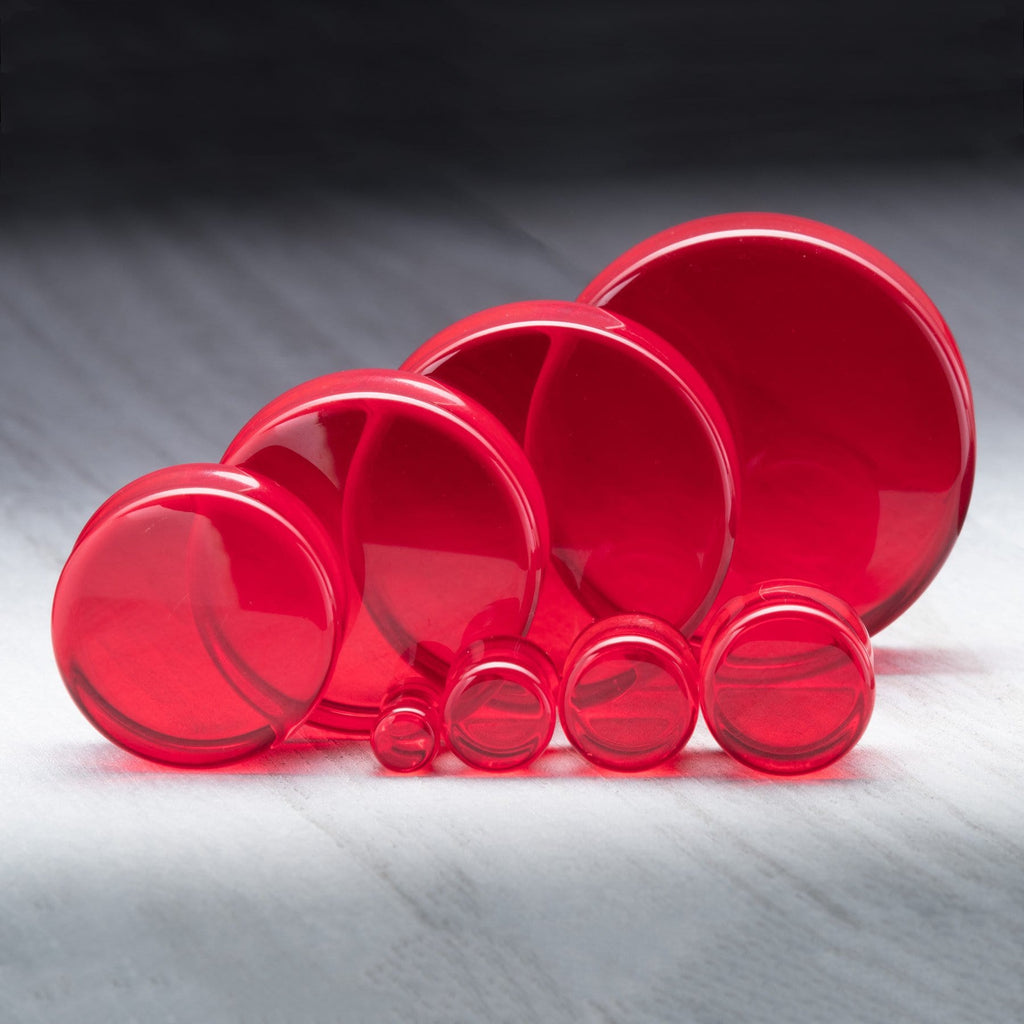 Red Double Flare Glass Plugs