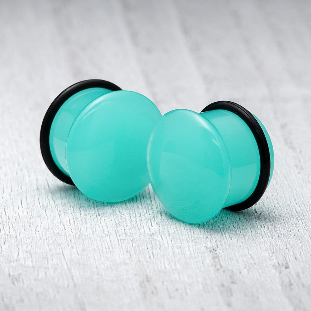 Aqua Single Flare Glass Plugs