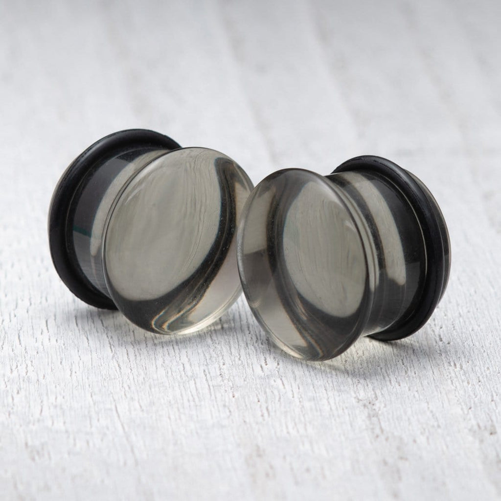 Smoke Black Single Flare Glass Plugs