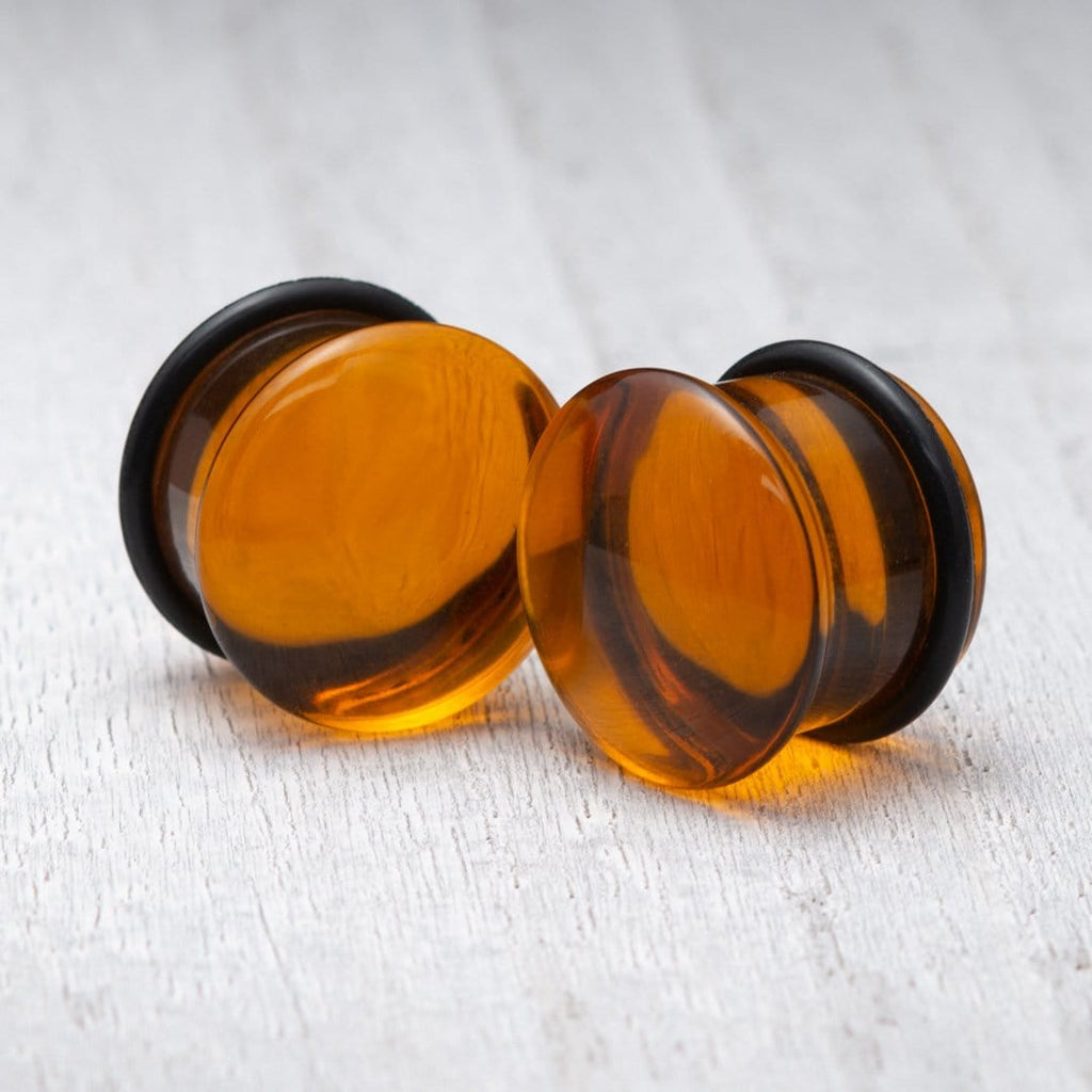 Orange Single Flare Glass Plugs