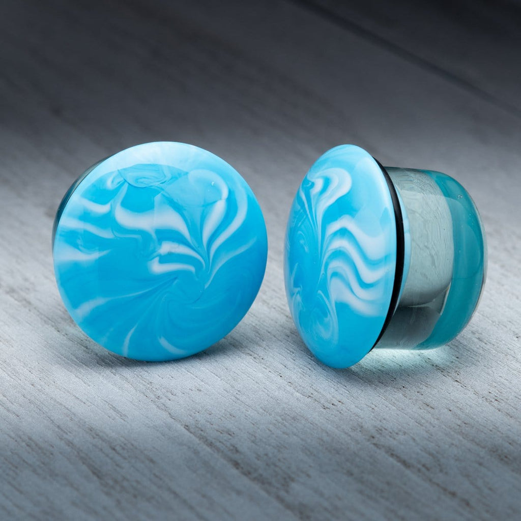 Blue with White Swirl Single Flare Glass Plugs