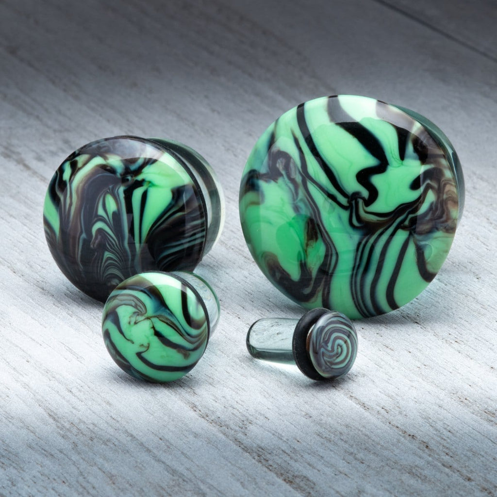 Green with Black Swirl Single Flare Glass Plugs