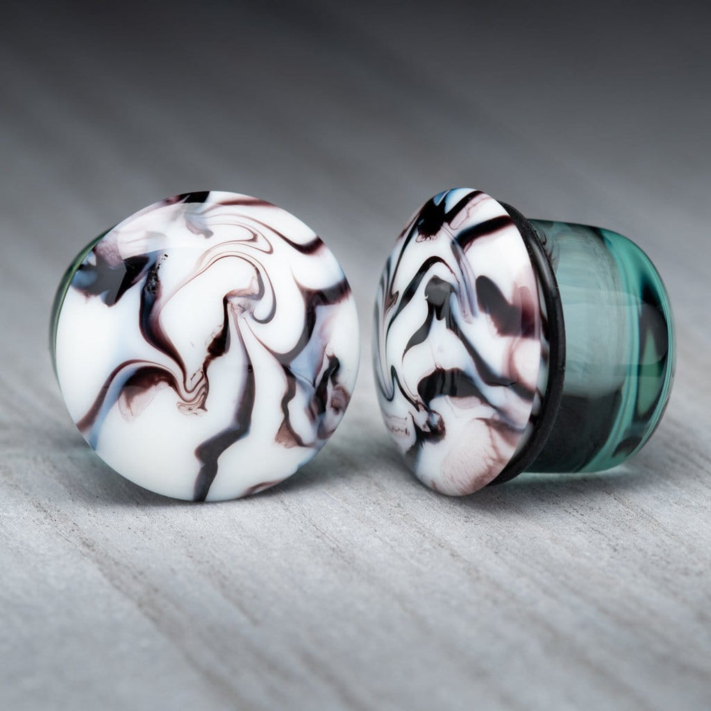 White with Black Swirl Single Flare Glass Plugs