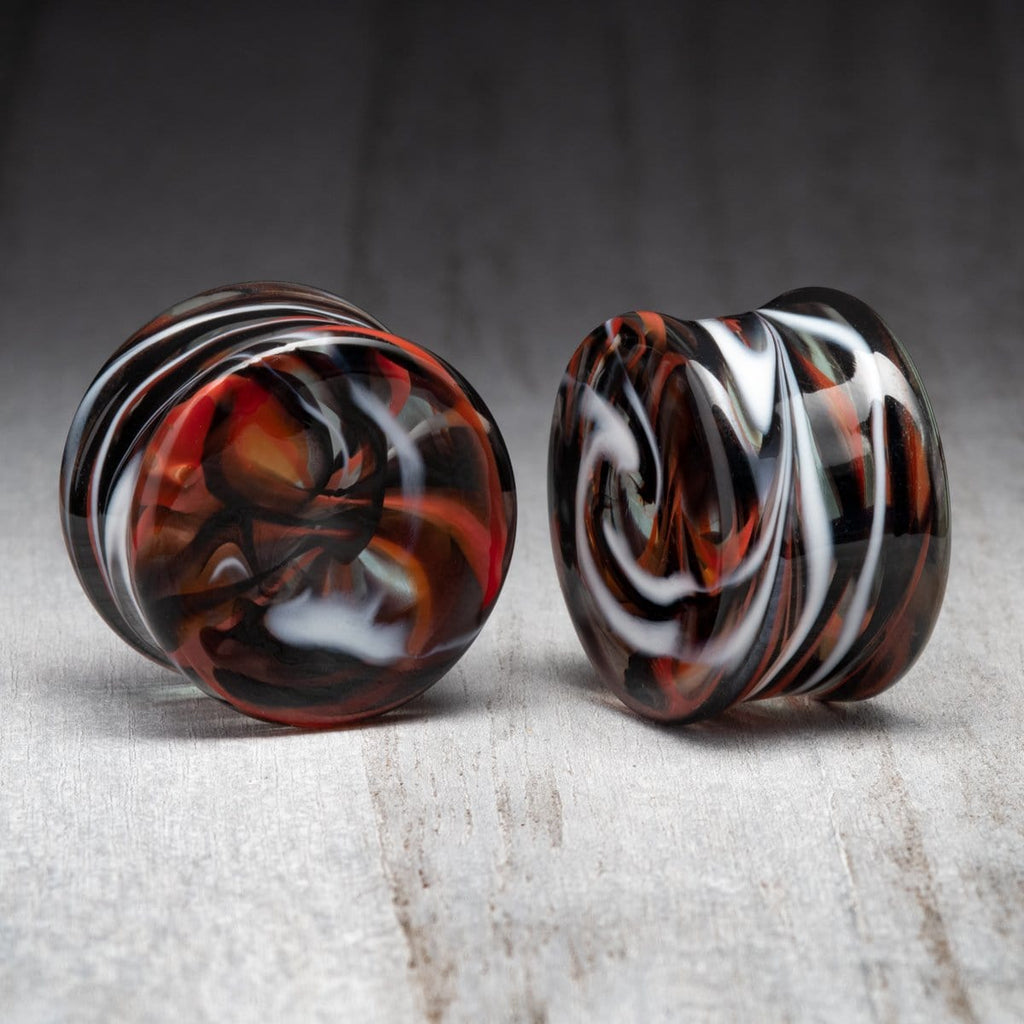 Red/Black/White Marble Swirl Double Flare Glass Plugs