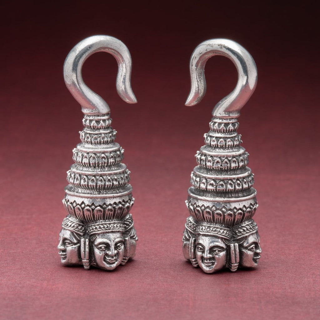 Four Sided Buddha White Brass Ear Weights Hangers