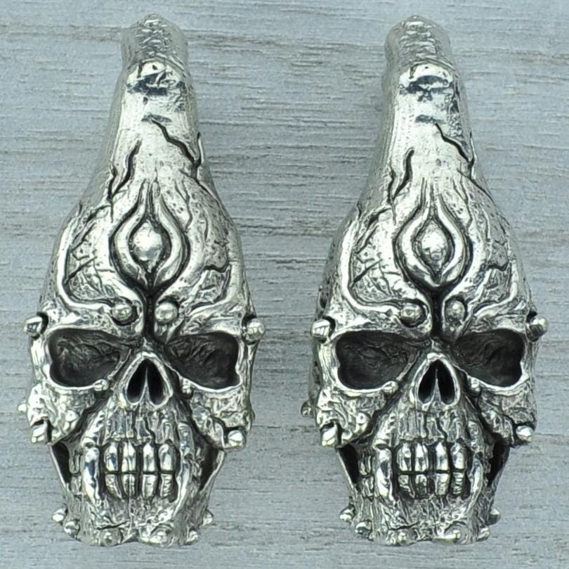 Skull White Brass Ear Weights Hangers