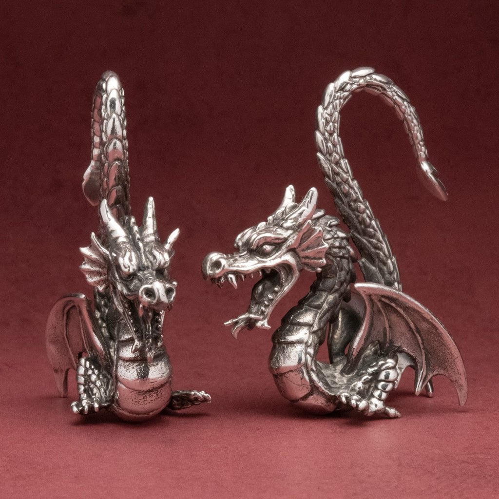 Dragon White Brass Ear Weights Hangers