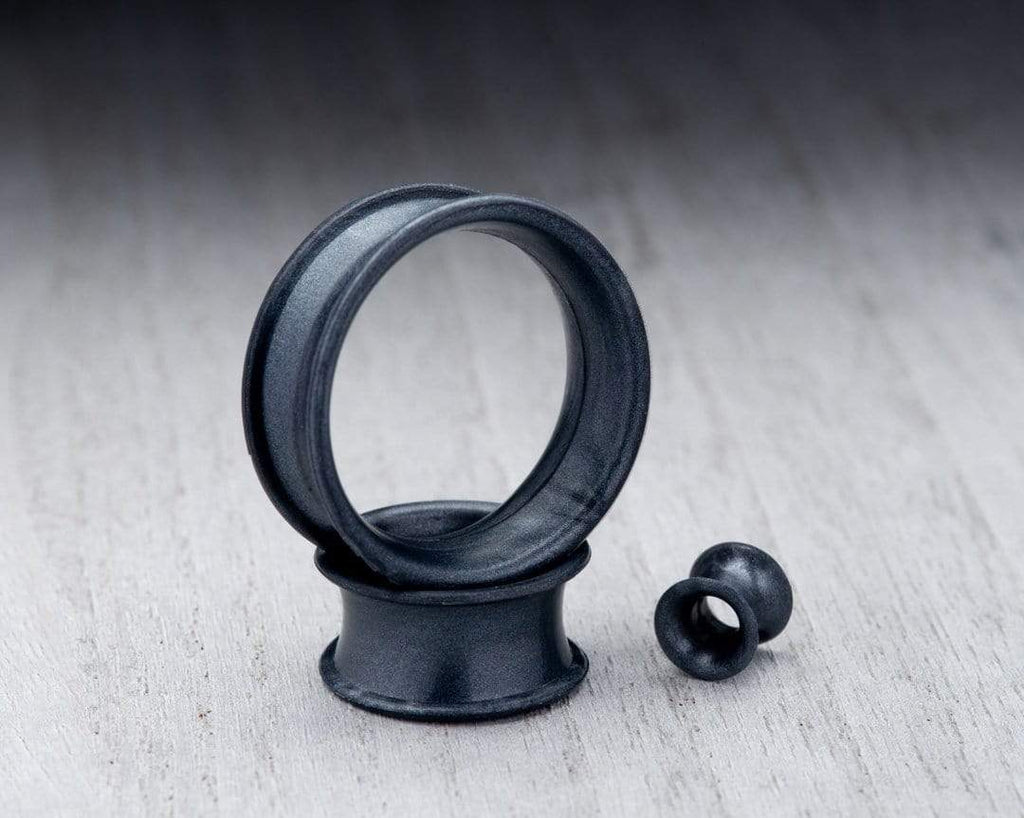 Pearl Black Thin Silicone Tunnels
