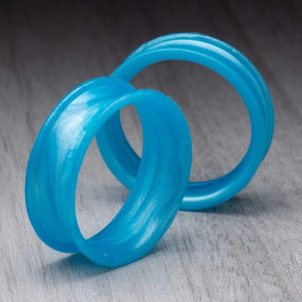Pearl Blue Thin Silicone Tunnels