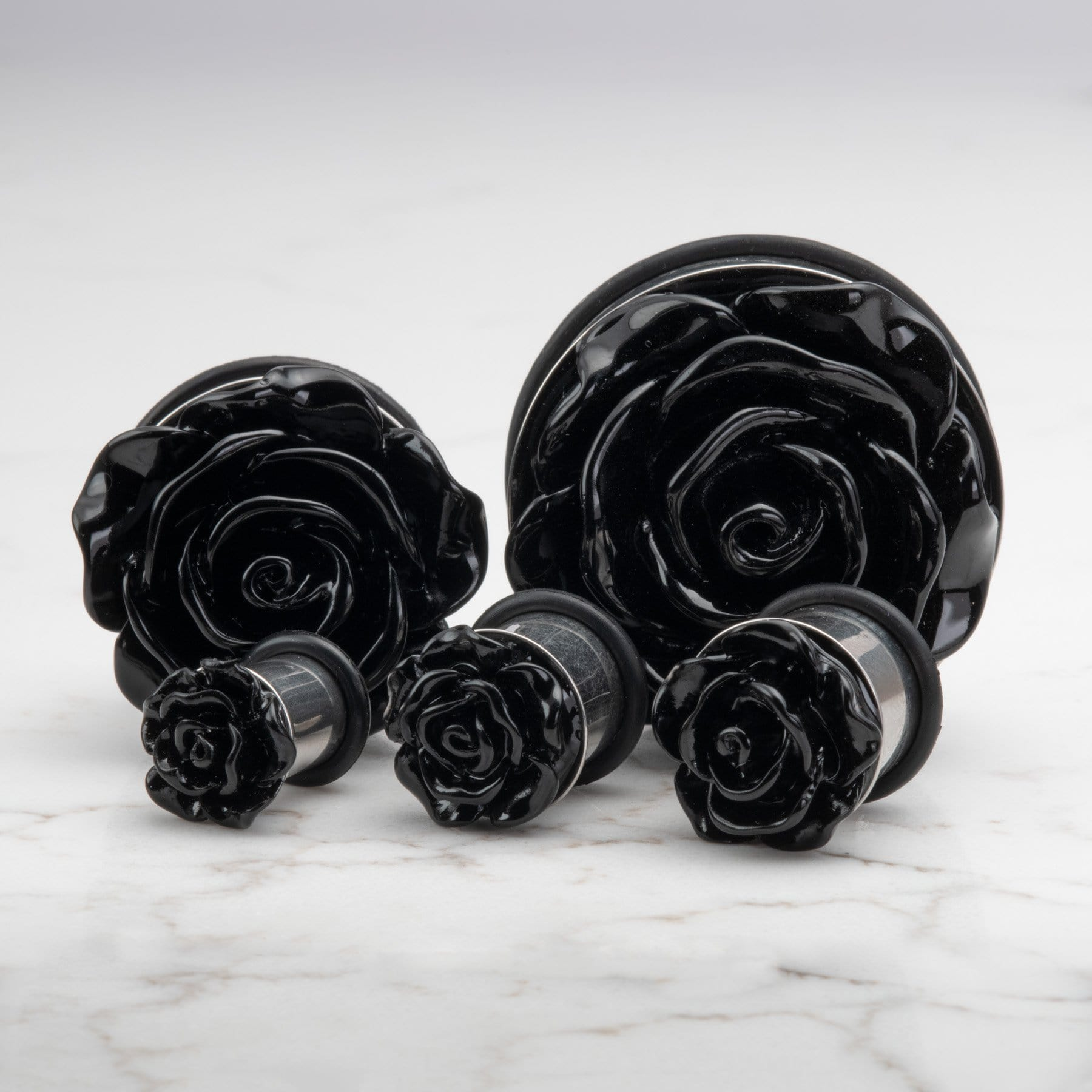 Red Rose Ear Plugs Gauges With O Ring Acrylic