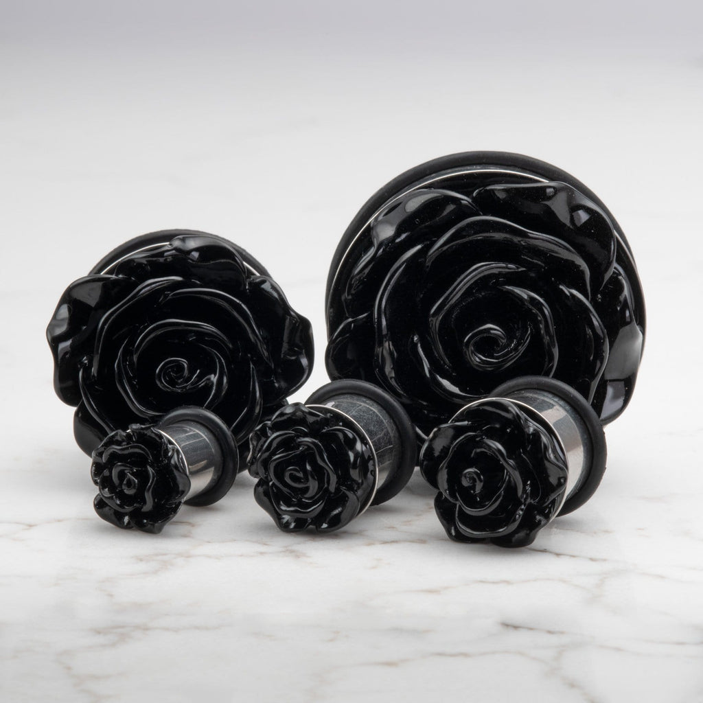 Black Acrylic Rose Stainless Steel Single Flare Plugs