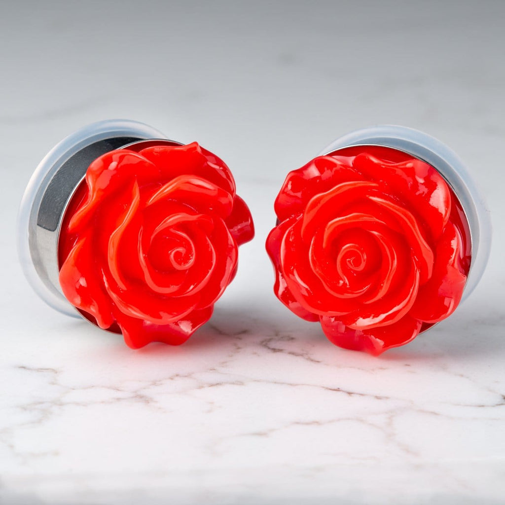 Red Acrylic Rose Stainless Steel Single Flare Plugs