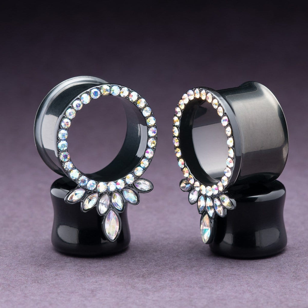 Black Steel Double Flare Tunnels with Marquise CZ