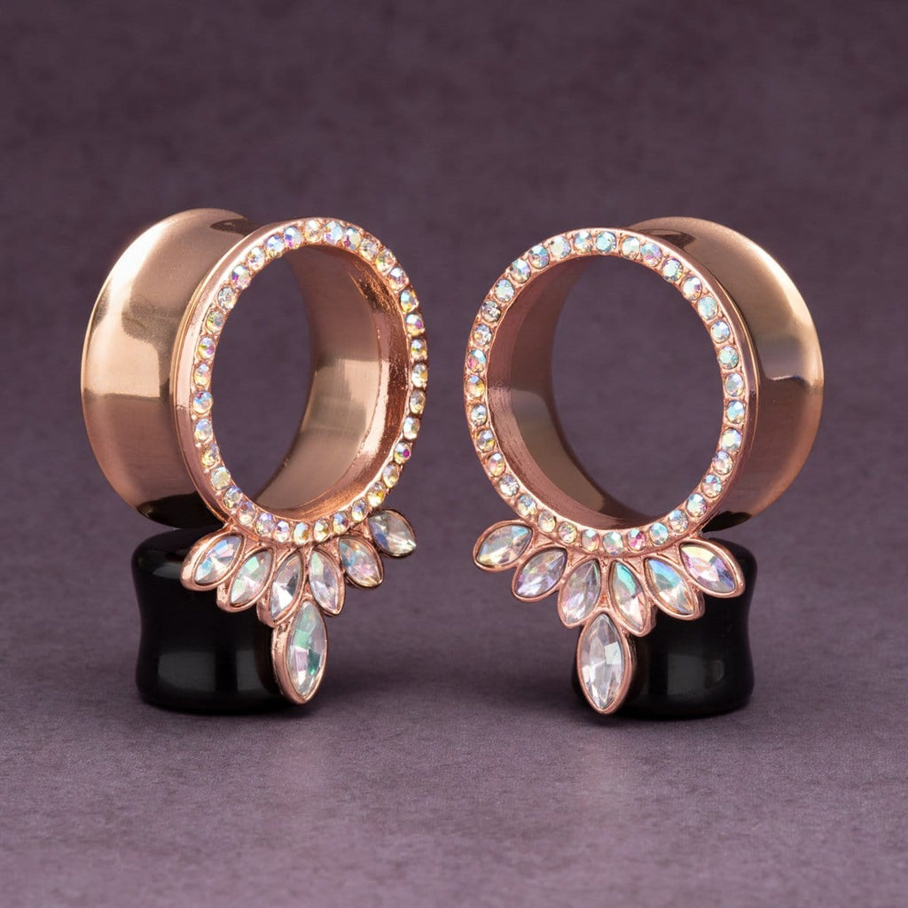 Rose Gold Double Flare Steel Tunnels with Marquise CZ