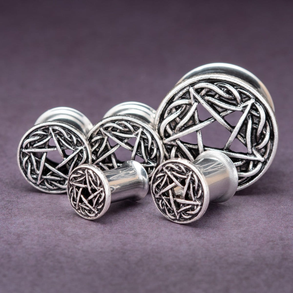 Pentagram Double Flare Steel Plugs