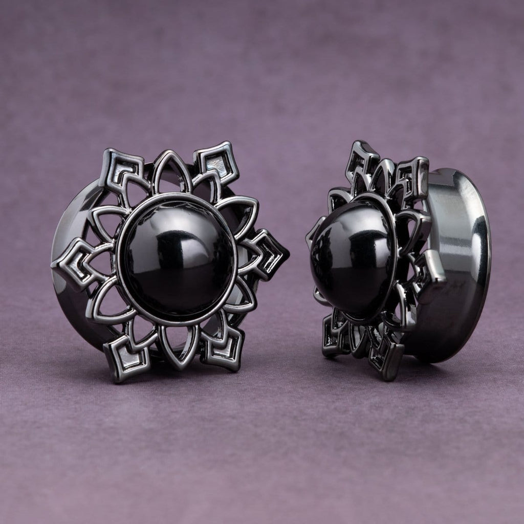 Black Steel Plugs with Onyx Center