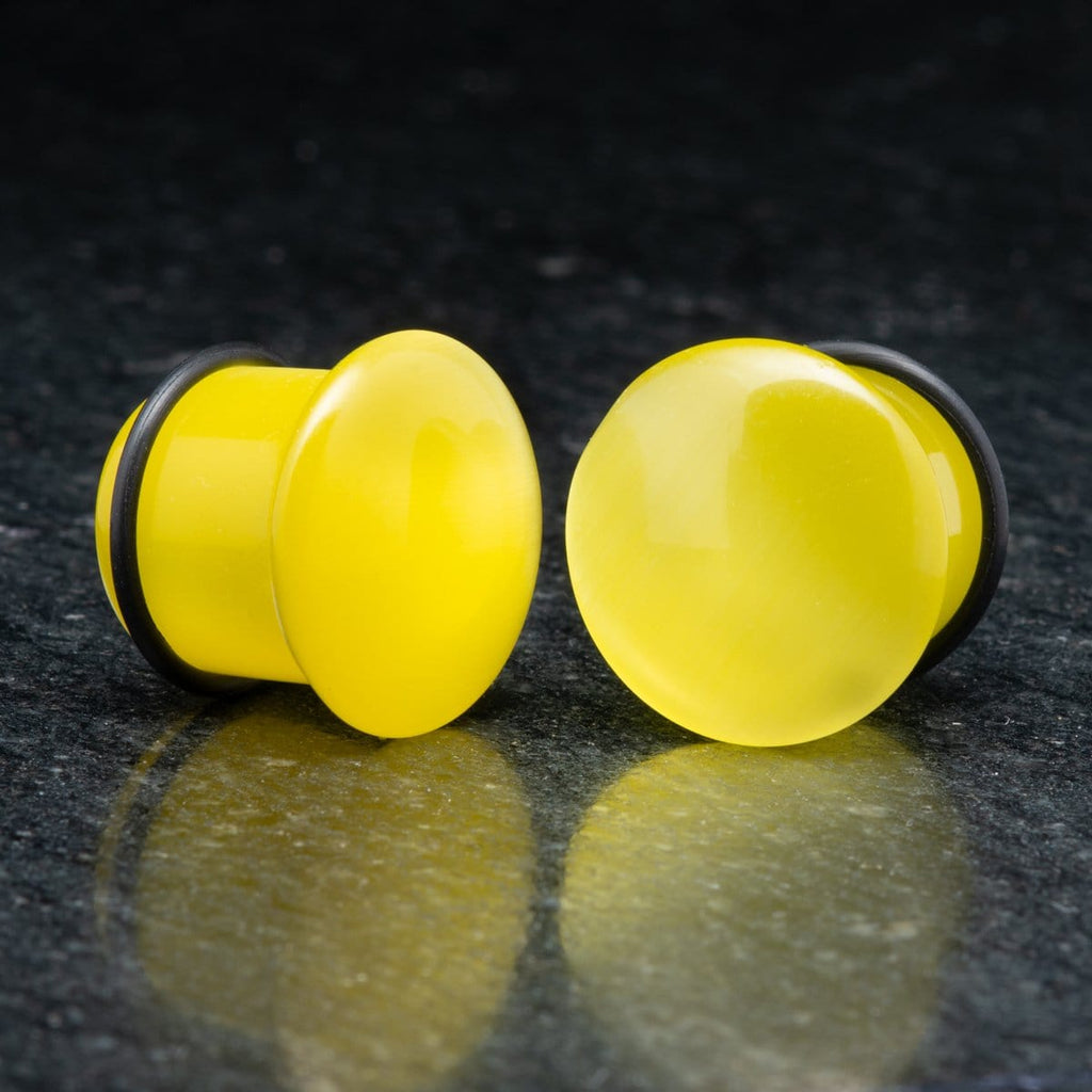 Yellow Cat Eye Single Flare Plugs