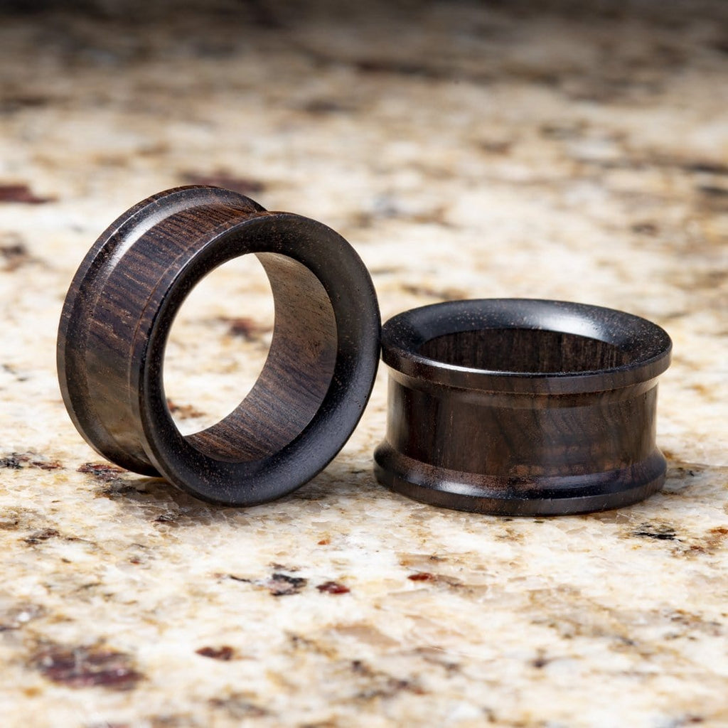 Ebony Wood Double Flare Tunnels