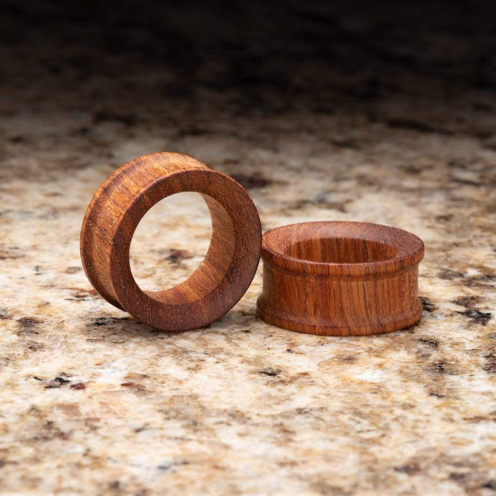 African Padauk Wood Double Flare Tunnels