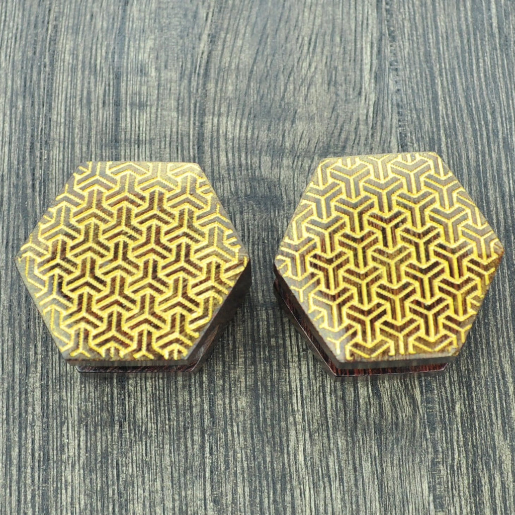 Tamarind Wood Faux Hexagon Plugs