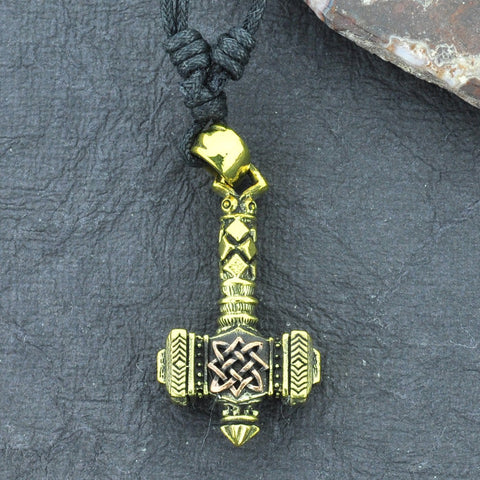 Thor's Hammer Brass Necklace