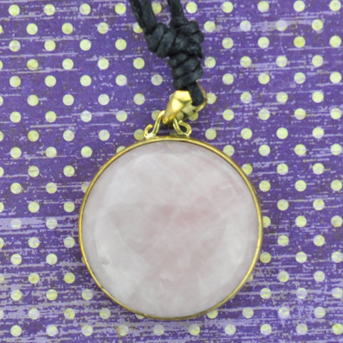Rose Quartz and Brass Necklace