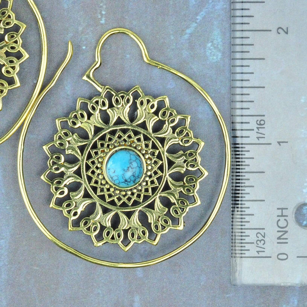Turquoise and Brass Hoop Hangers