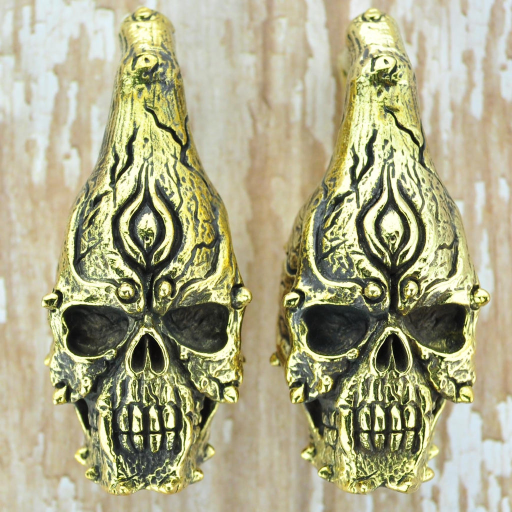 Skull Brass Ear Weights Hangers