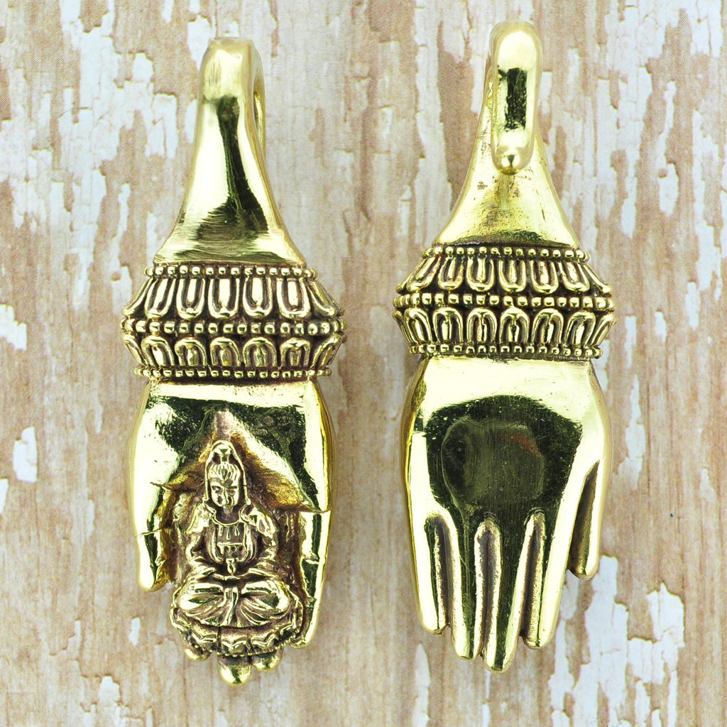 Buddha in Hand Brass Ear Weights Hangers
