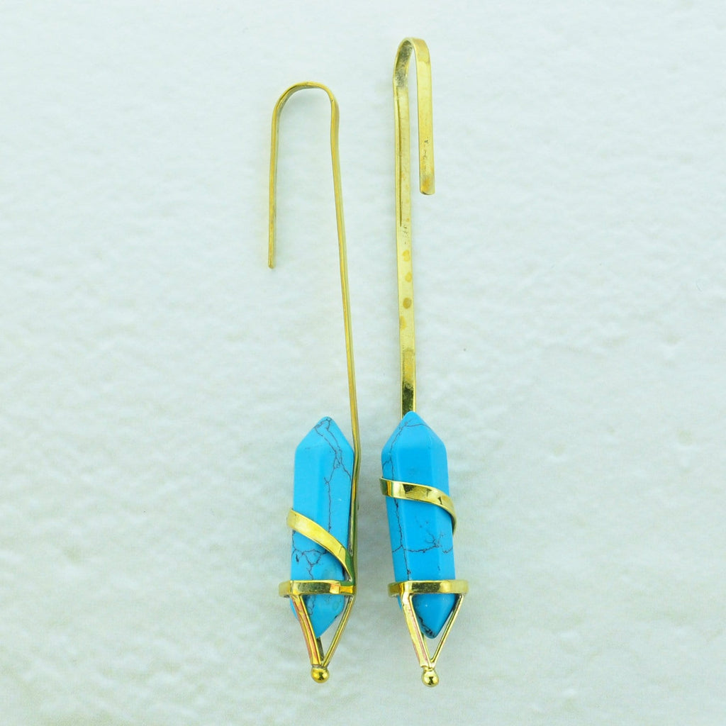 Brass Earrings Hangers with Turquoise Generator Bead