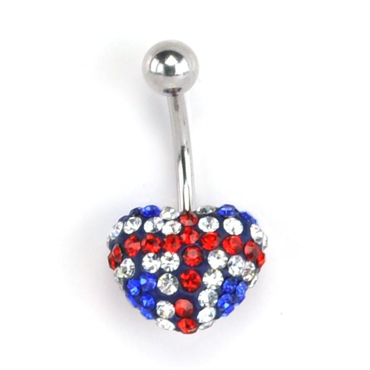 UK Flag Heart CZ Belly Ring *Discontinued*