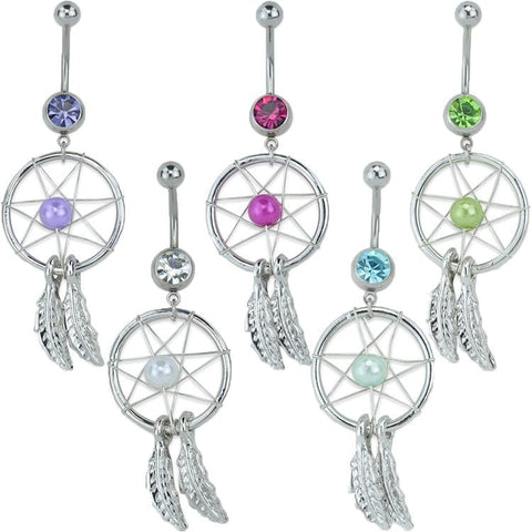 Dreamcatcher CZ Bead Belly Ring *Discontinued*