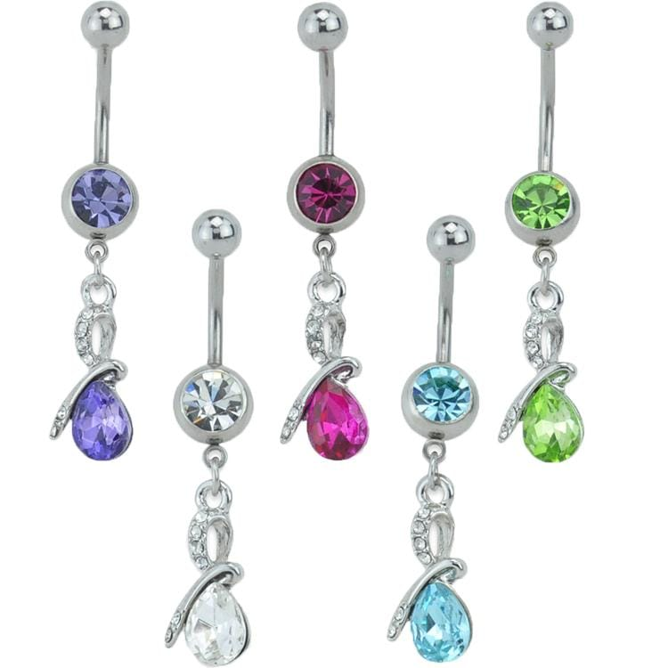 Teardrop CZ Belly Ring *Discontinued*