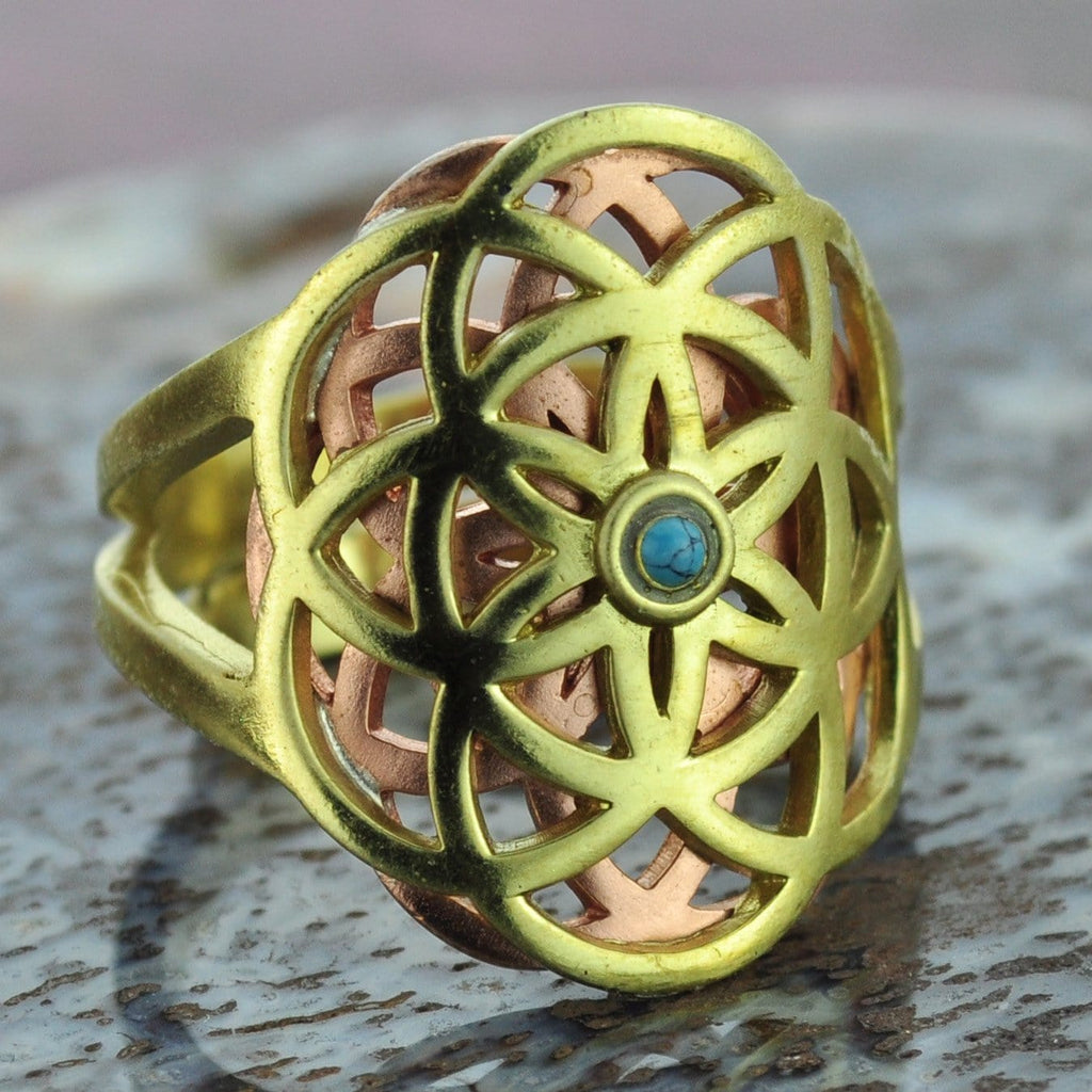 Brass and Copper Ring with Turquoise Center