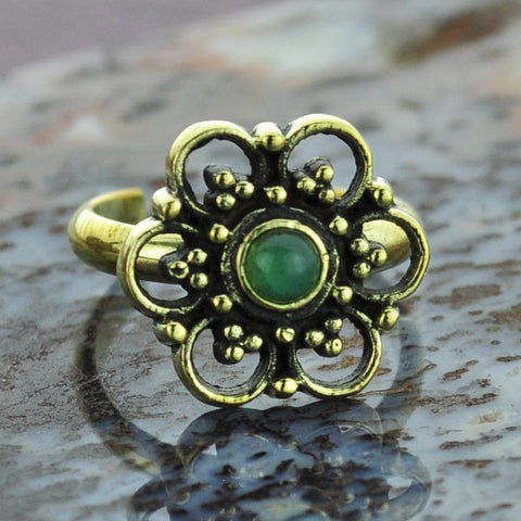 Flower Brass Toe Ring with Aventurine Gem