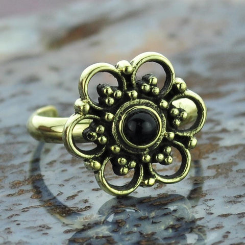 Flower Brass Toe Ring with Onyx Gem