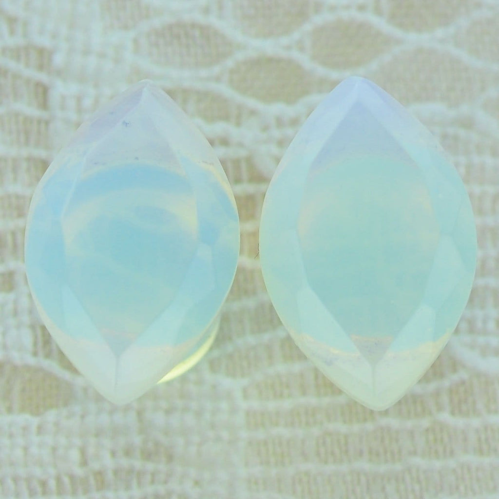 Opalite (Opalized Glass) Faceted Marquise Single Flare Plugs