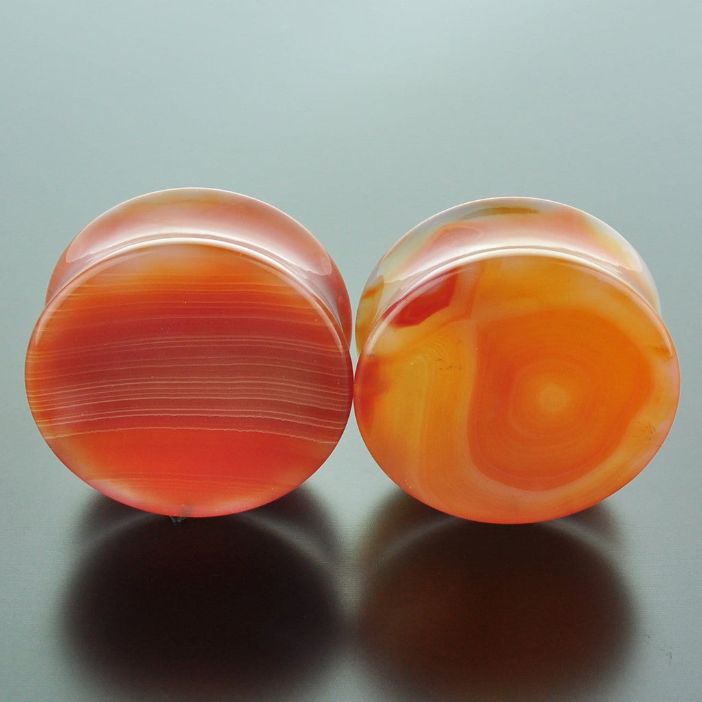 Red Banded Agate Double Flare Plugs #GRB-035-9-C (35mm)