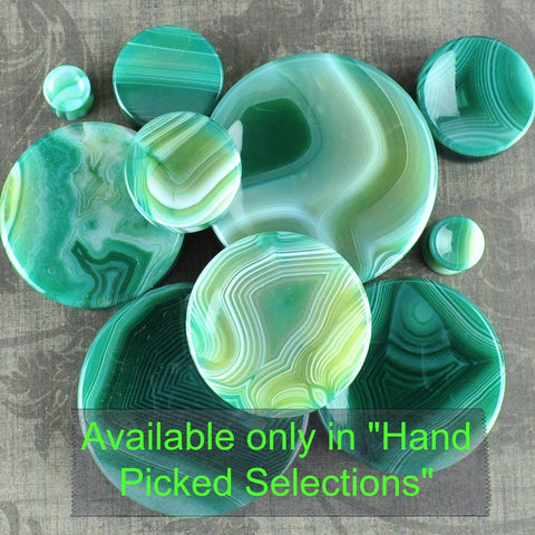 Green Banded Agate Concave Plugs