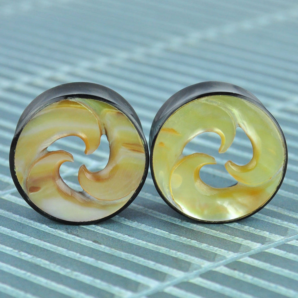 Horn Tunnels with Trinity Shell Inlay