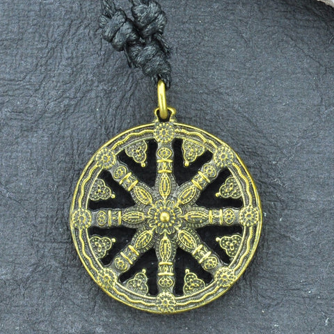 Wheel of Karma Brass Necklace