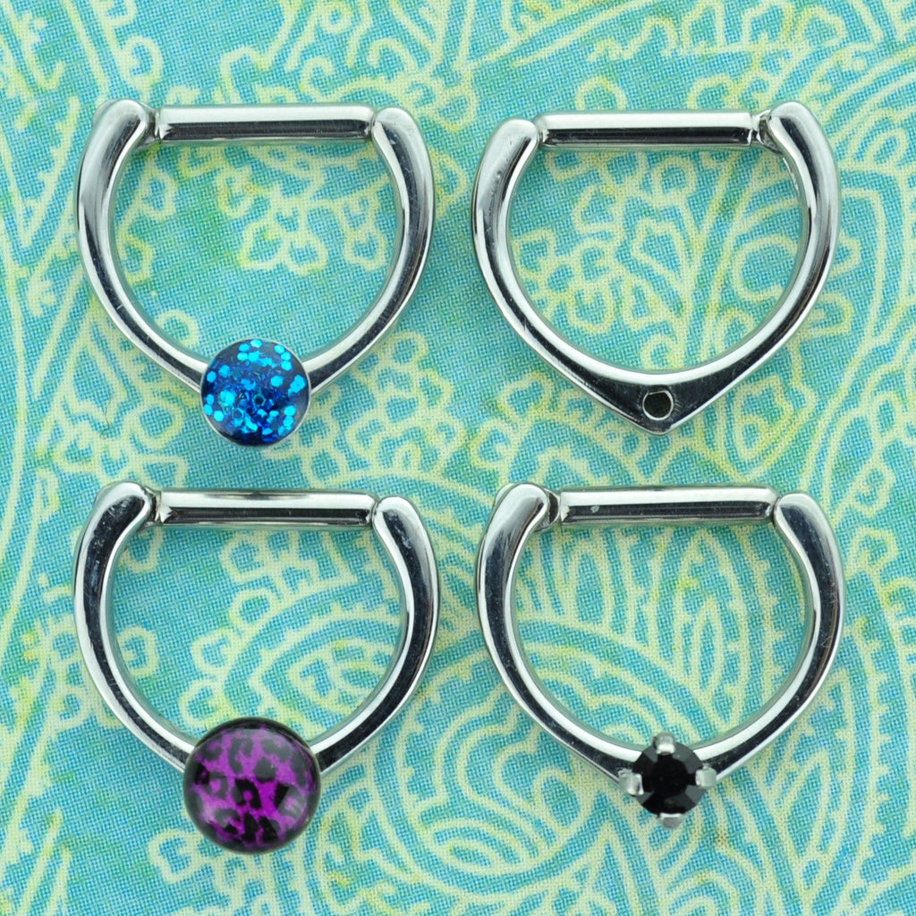 Steel Septum Clicker with Dermal Anchor Threading