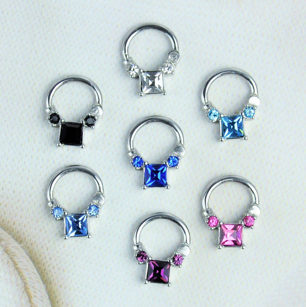 Stainless Steel Hinged Septum Clicker with Gems