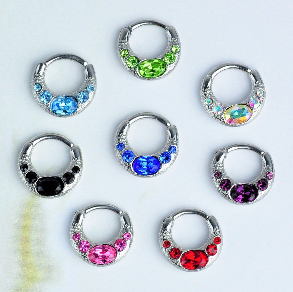 Stainless Steel Hinged Septum Clicker with 5 Gems