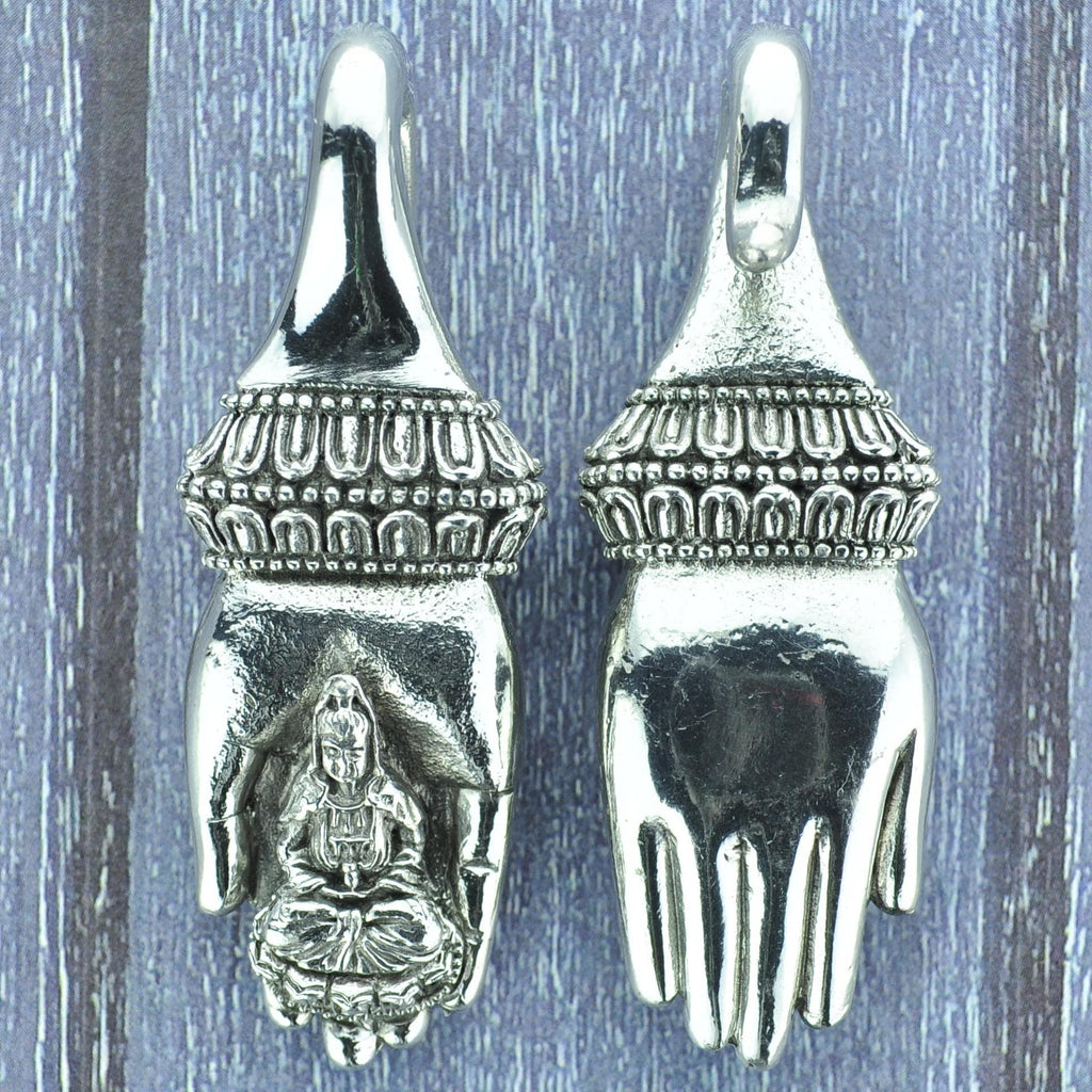 Buddha in Hand White Brass Ear Weights Hangers