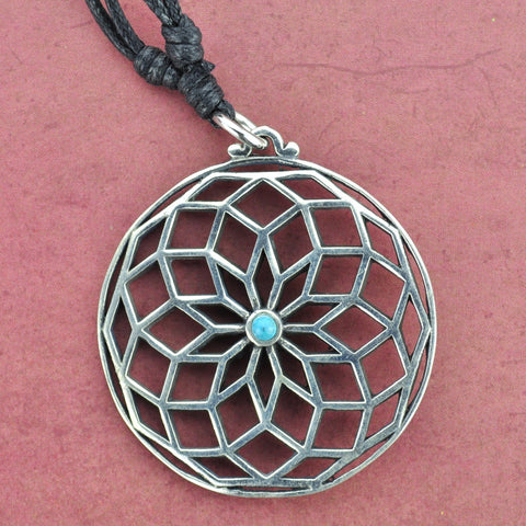 Geometric Mandala White Brass Necklace with Turquoise